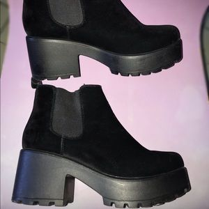 Black faux suede chunky Chelsea booties